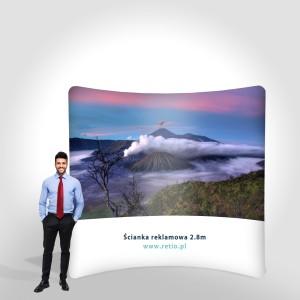 Ścianka reklamowa Tekstylna Łukowa Pozioma 3 x 2,4 m z wydrukiem dwustronnym
