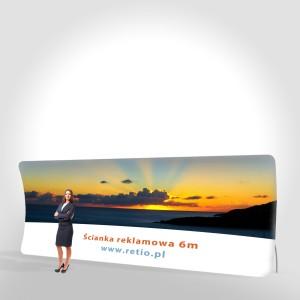 Ścianka reklamowa Tekstylna Łukowa Wertykalna 6,1 x 2,3 m z wydrukiem jednostronnym