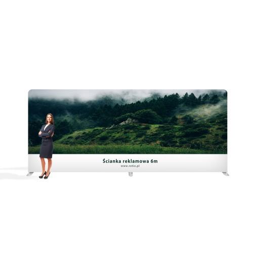 Ścianka Reklamowa Tekstylna Prosta 6,1 x 2,3 m z wydrukiem jednostronnym